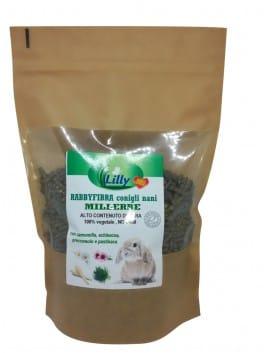 RABBYFIBRA MILLERBE Conigli nani - RICCO DI ERBE Senza Cereali, 100% vegetale, NO OGM