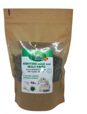 RABBYFIBRA MILLERBE Conigli nani Alimento bilanciato, formulato Senza Cereali, 100% vegetale, NO OGM
